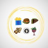 Set color vector sketches icons of food Stock Image