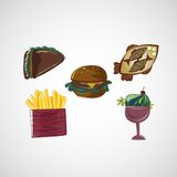 Set color vector sketches icons of food Stock Images