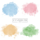 Set of color vector watercolor stains Stock Photo