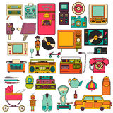 Set of color vintage flat electronic icons 80-90s. Vector Stock Photos