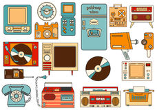 Set of color vintage flat electronic icons 80-90s. Vector Stock Image