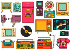 Set of color vintage flat electronic icons 80-90s. Vector Royalty Free Stock Images