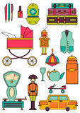 Set of color vintage flat icons 80-90s. Vector Royalty Free Stock Photography