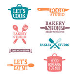 Set of color vintage retro handmade badges, labels and logo elements, retro symbols for bakery shop, cooking club, food Royalty Free Stock Photos