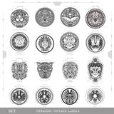 Set of color vintage royal labels with lion eagle and man face Stock Photography