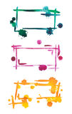 Set color watercolor frame, isolated on white background Royalty Free Stock Photos