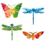 Set of color watercolor silhouettes of butterflies Stock Image