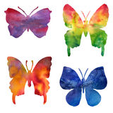 Set of color watercolor silhouettes of butterflies Royalty Free Stock Images