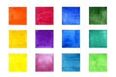 Set of color watercolor squares vector illustration