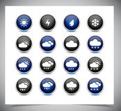 Set of color weather buttons. Royalty Free Stock Photo