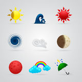 Set of color weather icons Royalty Free Stock Photography