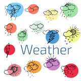 Set of color weather icons flat symbols on a white background.Ve Stock Image