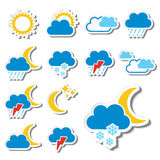 Set of color weather stickers - symbol, sign, icon Stock Images