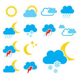 Set of color weather symbols - sign, icon Royalty Free Stock Photos
