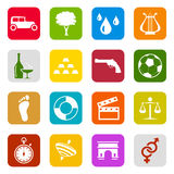 Universal icons. Set of color web icons Royalty Free Stock Photo