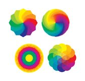 Set of Color Wheels / Flower of Life Multicolored Royalty Free Stock Photo