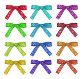 Set color and white polka dot ribbon and bow Stock Photo