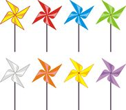 Set of color windmills (propeller, spinner) - toys. Set of color windmills (propeller, spinner) -  toys, cartoon - isolated vector illustration on white Stock Images