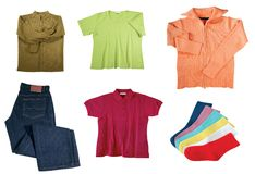 Set of color women clothes Royalty Free Stock Image