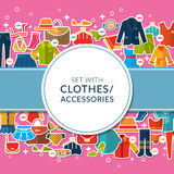 Set with color women's clothes and accessories Stock Photo