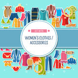 Set with color women's clothes and accessories Stock Image