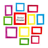 Set of color wooden frames on white background. Vector illustration Royalty Free Stock Image
