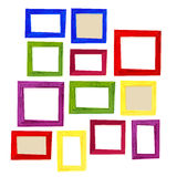 Set of color wooden frames on white background Stock Photo