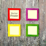 Set of color wooden frames on wood desk background. Vector illustration Stock Photography