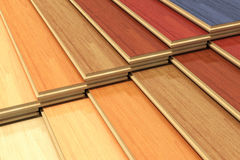 Set of color wooden laminated construction planks Royalty Free Stock Images