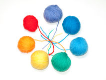 A set of color woolen yarns for knitting Stock Photography