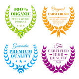 Set of color wreath labels Stock Images