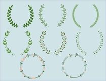 Set of color wreaths and borders stock illustration