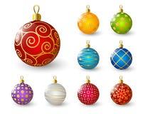 Set of color Xmas balls Stock Photos