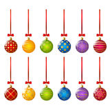 Set of color Xmas balls Royalty Free Stock Images