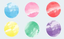 Set color yellow red pink green blue circles brush stroke stock illustration