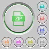 ZIP file format push buttons. Set of color ZIP file format sunk push buttons Royalty Free Stock Image