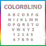 Set of Colorblind Style Font in Vector. Fresh trendy colors. Stock Images
