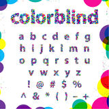 Set of Colorblind Style Font in Vector. Fresh trendy colors. Royalty Free Stock Photos