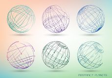 Set of colored abstract images of planets. Frame geometric shapes from points and lines. stock illustration