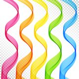 Set of Colored Abstract  Transparent Wave Lines for Whit. E Background. Design Elements Smooth Wavy Vertical Curved Lines Stylized Ribbons of Pink, Orange Royalty Free Stock Photography