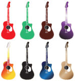 Set of colored acoustic guitars arranged in 2 rows Royalty Free Stock Image