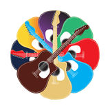 Set of colored acoustic guitars are laid out in a spiral shape Royalty Free Stock Image