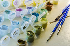 Set of colored acrylic paints Stock Images