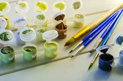 Set of colored acrylic paints Stock Photography