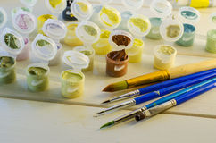 Set of colored acrylic paints Royalty Free Stock Photos
