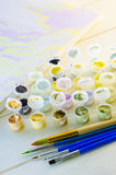 Set of colored acrylic paints Stock Image