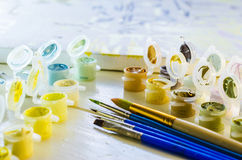Set of colored acrylic paints Royalty Free Stock Images