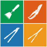 Set of Colored Agricultural  Icons. Set of Colored Farming  Icons , Garden and Landscaping Tools ,Icon Hand  Hoe, Icon Pruning Shear , Icon Loppers , Icon Garden Royalty Free Stock Photography