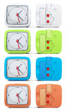 Set of colored alarm clocks on white background. 3d rendering Royalty Free Stock Photos