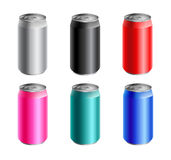 Set of colored aluminium cans Stock Photography